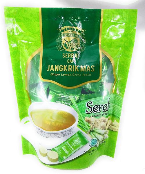 Serbat Cap Jangkrik Mas - Ginger Lemon Grass, 10 Sachet @ 2 tablets
