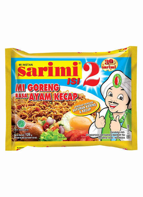 Sarimi Instant Noodle Mi Goreng Ayam Kecap Isi 2, 126 Gram (1 pcs)