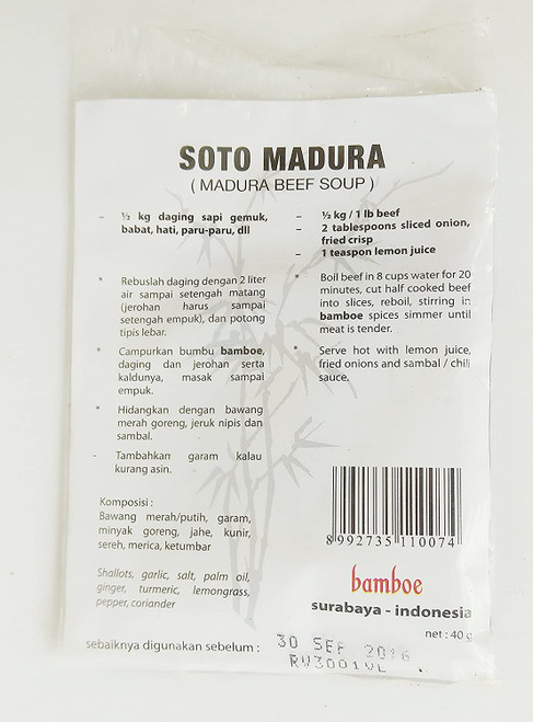 Bamboe Bumbu Instant Soto Daging Madura Spices (local packaging), 40 Gram