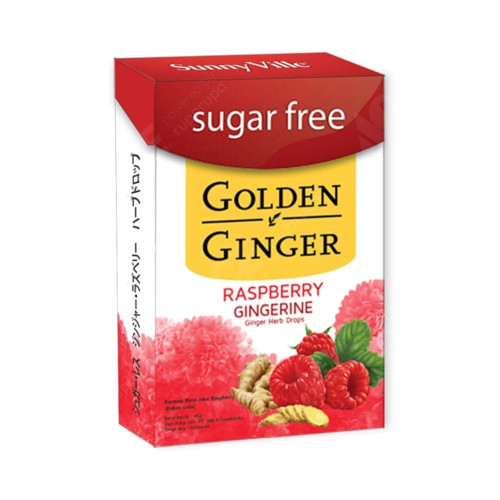 Golden Ginger Herb Drops Raspberry (sugar free), 45 Gram
