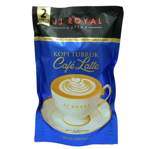 JJ Royal Kopi Tubruk Coffee Cafe' Latte, 2 Sachets @ 30 Gram