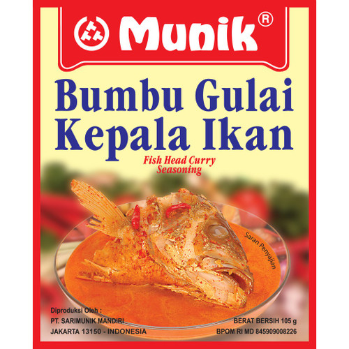 Munik Bumbu Gulai Kepala Ikan (Fish Head Curry) Indonesia Seasoning Paste , 105 gr