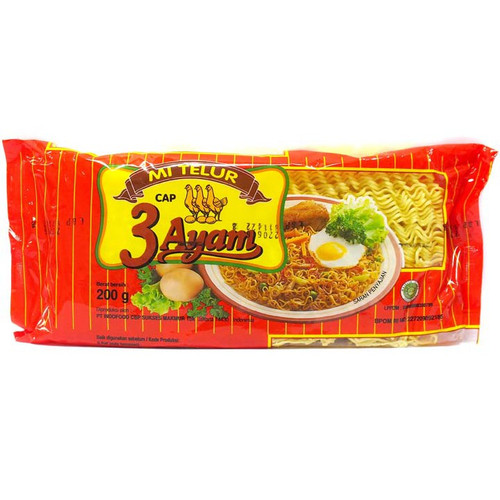 Copy of Mie Telor Cap Tiga Ayam Merah Bulat Round Noodles 200 gr