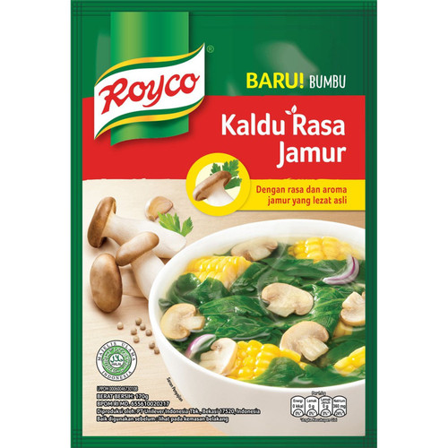 Royco Bumbu Kaldu Rasa Jamur (Mushroom Broth Seasoning), 170 gr