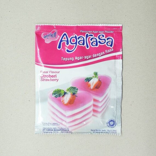 Nutrijell Agarasa Tepung Agar-agar Rasa Stroberi (Strawberry Flavoured Agar-agar Powder) 10 gr -0.35 oz
