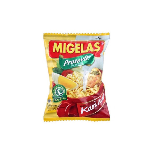 MIGELAS Protevit Mie Instant Rasa Kari Ayam (Chicken Curry Flavor) 28 gr