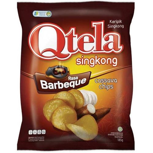 Qtela Keripik Singkong Barbeque (Cassava Chips Barbeque Flavor) 185G - 6.52 Oz Active