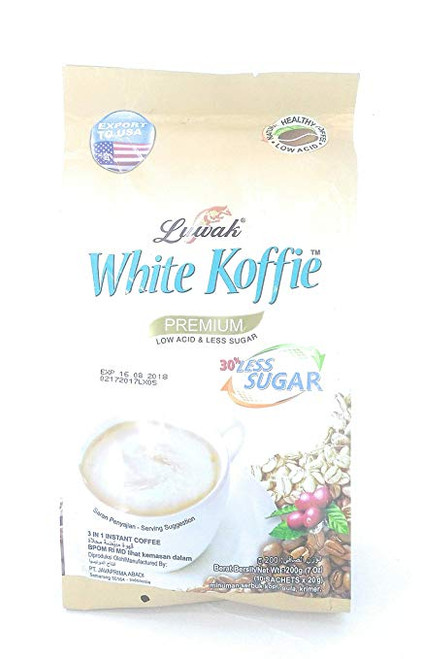 Luwak Brand White Koffie Less Sugar 10-ct, 200 Gram