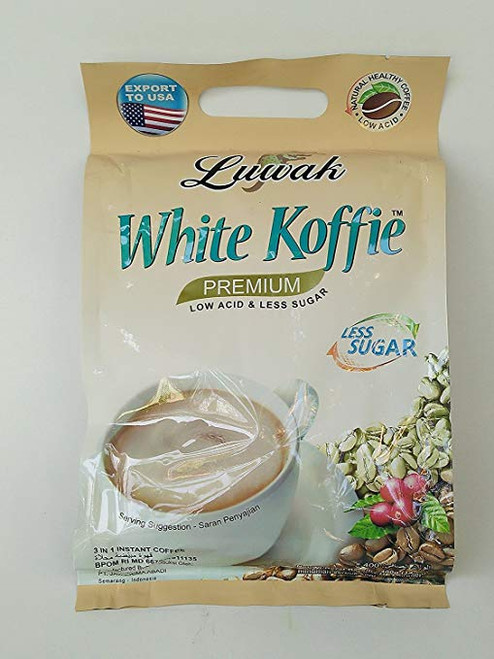 Luwak Brand White Koffie Less Sugar 20-ct, 400 Gram