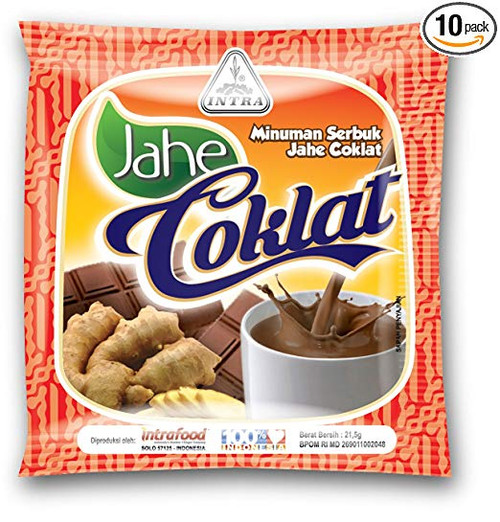 Intra Jahe Coklat - Instant Ginger Tea with Chocolate , 21.5 Gram ( 10 Sachets)