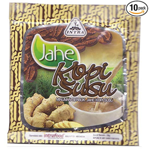 Intra Jahe Kopi Susu - Instant Ginger Tea with Coffee and Milk, 28 Gram ( 10 Sachets)