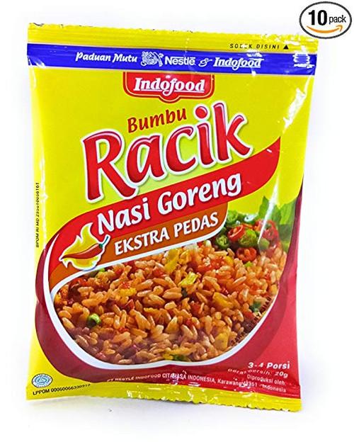 Indofood Racik Nasi Goreng Extra Pedas (Hot Spicy Fried Rice), 20 Gram (10 Sachets)