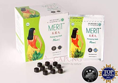 Merit Jamu Herb for Dietary Loss Weight, 1 Box (10 Sachets/210 Pills)