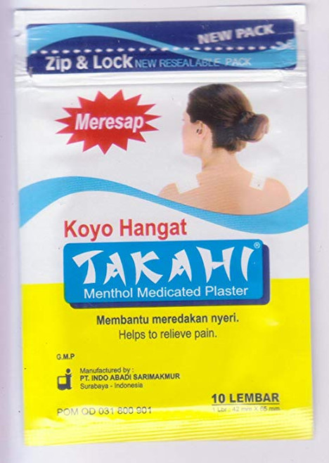 Takahi Koyo Hangat - Warm Menthol Medicated Plaster, 1 Pack (10 Pathes)
