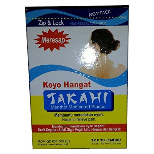 Takahi Koyo Hangat - Warm Menthol Medicated Plaster, 1 Box ( 12 Packs, 120 Patches)