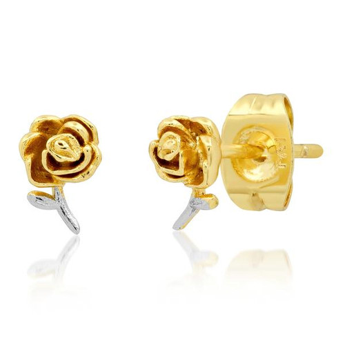 Two-Toned Rose Stud Earring