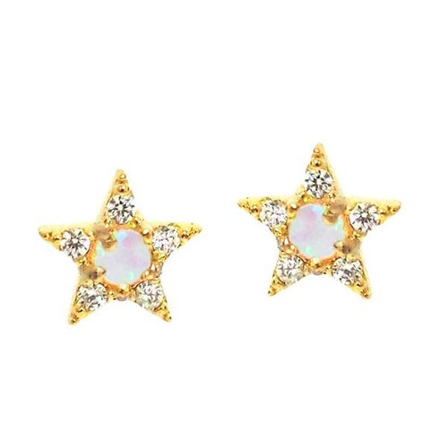 Gold Star with Opal Center Stud Earring