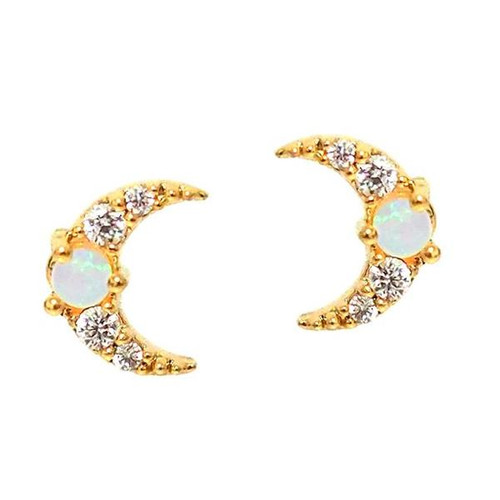 Gold Moon with Opal Center Stud Earring