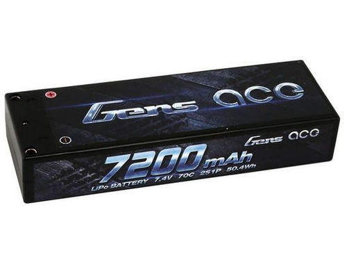 Gens Ace 2S 74V 7200mAh 70C Hardcase RC Car LiPo Battery ROAR 50mm Plug