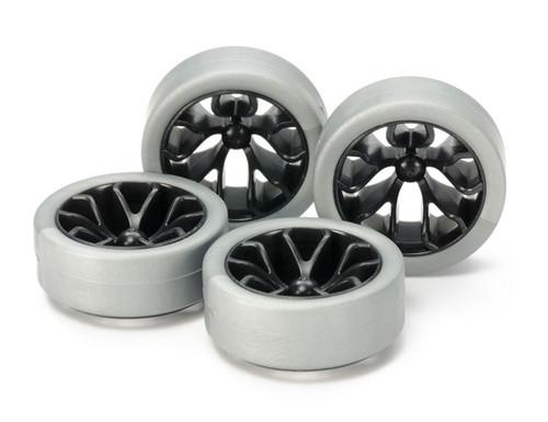 Tamiya 95412 Mini 4WD Hard Low Profile Tyre & Carbon Wheel Set