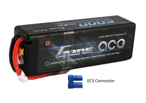 Gens-Ace 3S 11.1V 5000mAh 50C Hardcase RC Car LiPo Battery with EC5