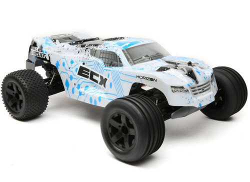 ECX Circuit 1/10 2WD RC Stadium Truck Brushed with LiPo RTR, White/Blue