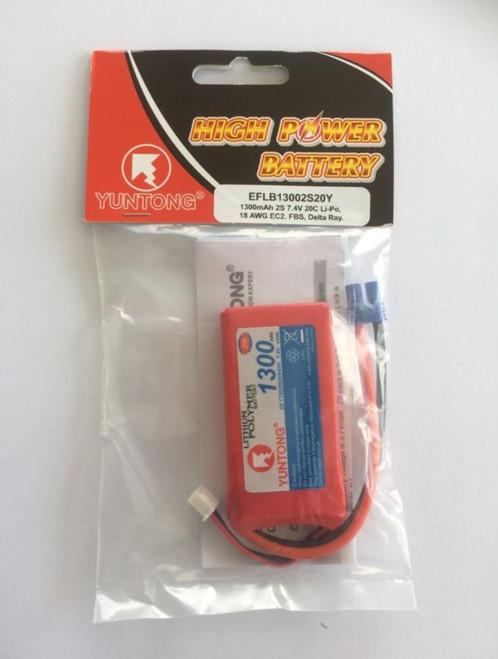 E-Flite 2S 7.4V 1300mAh 20C LiPo Battery EFLB13002S20Y