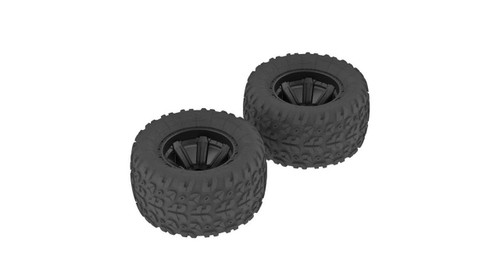 Arrma AR550014 Copperhead MT Tire & Wheel Glued Black (2): Voltage