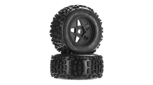 Arrma AR510092 DBoots Backflip MT 6S Tyre Wheel Set Glued Black (2)