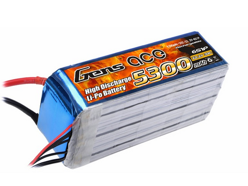 Gens-Ace 6S 22.2V 5300mAh 30C LiPo Battery with EC5 Connector