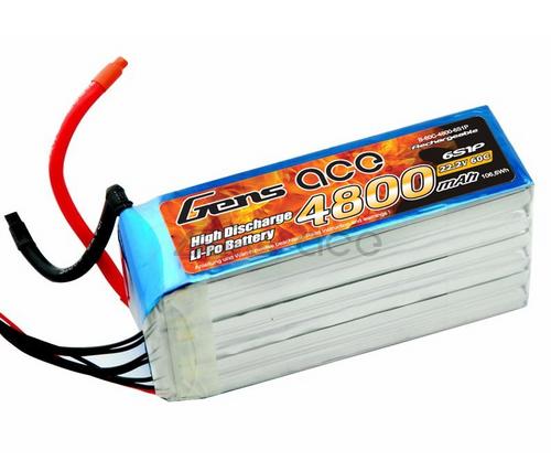 Gens-Ace 6S 22.2V 4800mAh 60C LiPo Battery