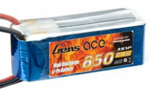 Gens-Ace 850mAh, 11.1V, 3S1P, 20C Fits ESKY HB2, BIG LAMA with JST Plug