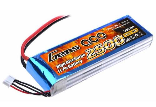 Gens-Ace 11.1V 2500mah 3S1P 25C LiPo Battery with EC3 Plug