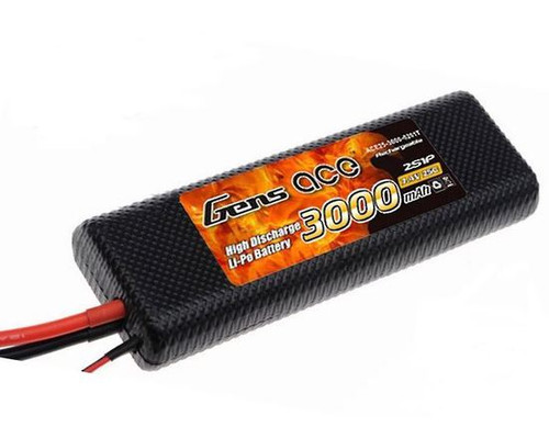 Gens-Ace 2S 7.4V 3000mAh 25C Classic RC Car LiPo Battery XT60