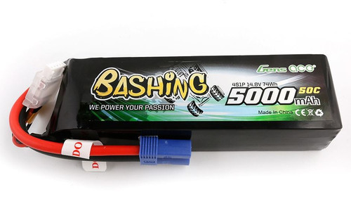 Gens-Ace 4S 14.8V 5000mAh 50C RC Car LiPo Battery Bashing Series with EC5 Connector
