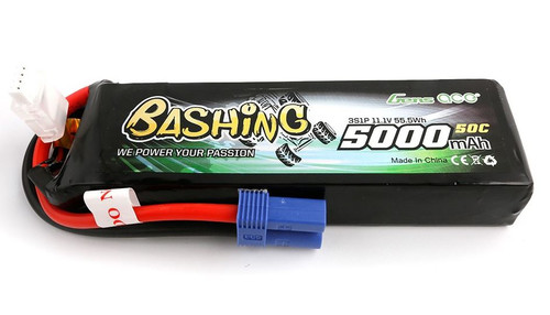 Gens-Ace 3S 11.1V 5000mAh 50C RC Car LiPo Battery Bashing Series with EC5 Connector