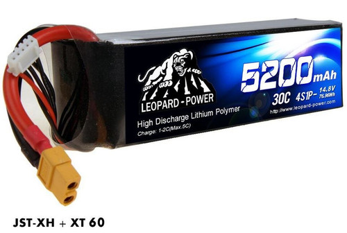 Leopard Power 4S 14.8v 5200mah 30c XT60 Lipo Battery