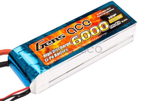 Gens-Ace 6000mAh 3S 11.1V 35C LiPo with EC3 Plug