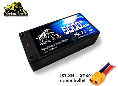 Leopard Power 2S 7.4v 5000mAh 100C Shorty Hardcase LiPo Battery with XT60