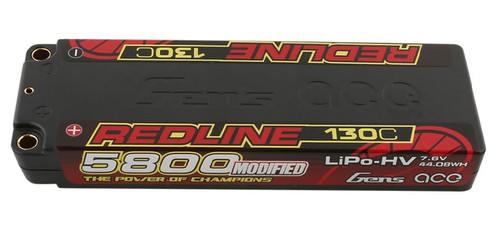 Gens-Ace 5800mAh 7.6v 130C HV 2S1P Redline Race Series LiPo Battery LCG