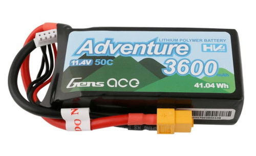 Gens Ace Adventure 3600mAh 3S1P 11.4V 50C HV Lipo Battery with XT60 Plug