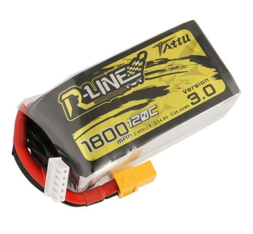 Tattu R-Line V3.0 1800mAh 14.8V 120C 4S1P LiPo Battery w/XT60 Plug