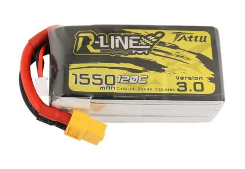 Tattu R-Line V3.0 1550mAh 14.8V 120C 4S1P LiPo Battery with XT60 Plug