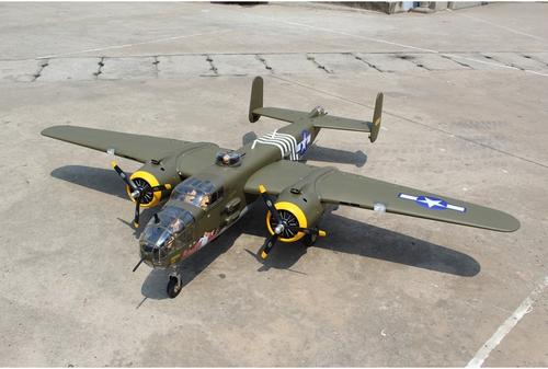 "Seagull Models Giant Mitchell B-25 span 95"", 20cc w/3pcs Alloy Hub Rubber Wheels"