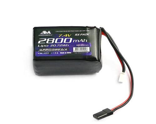 Arrowmax 2800mAh 2S LiPo TX/RX 7.4V Hump Pack