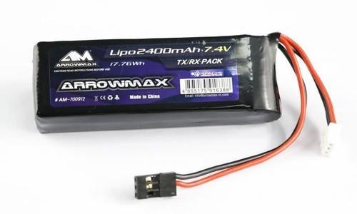 Arrowmax 2400mAh 2S 7.4V TX/RX Flat Pack