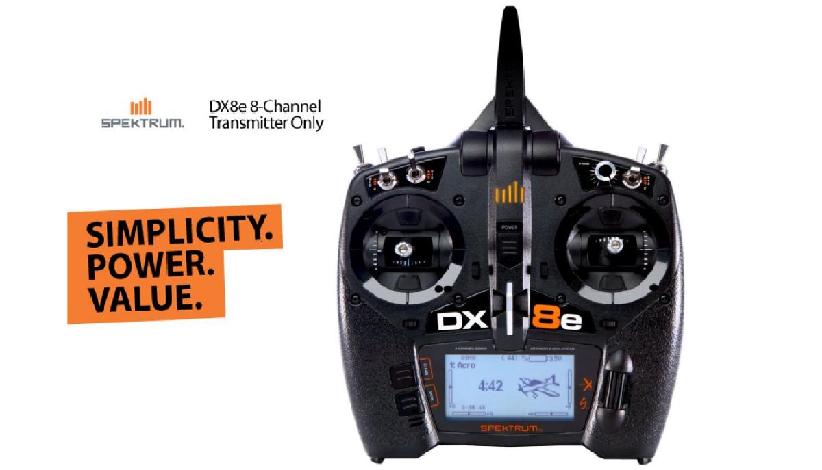 DX8e - Spektrum SPMR8100 8 Channel DSMX Transmitter Only