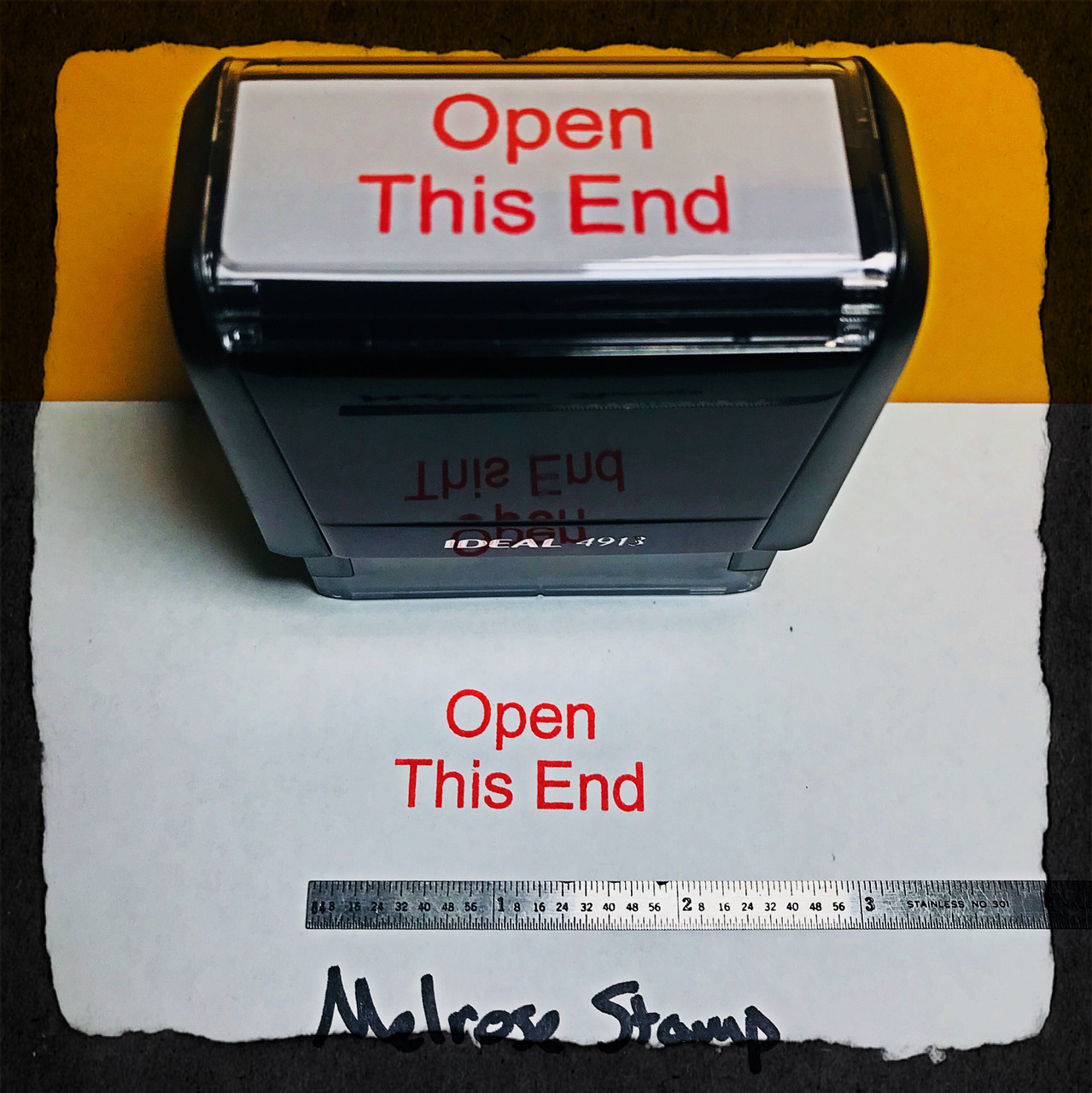 Open This End Stamp Red Ink Large