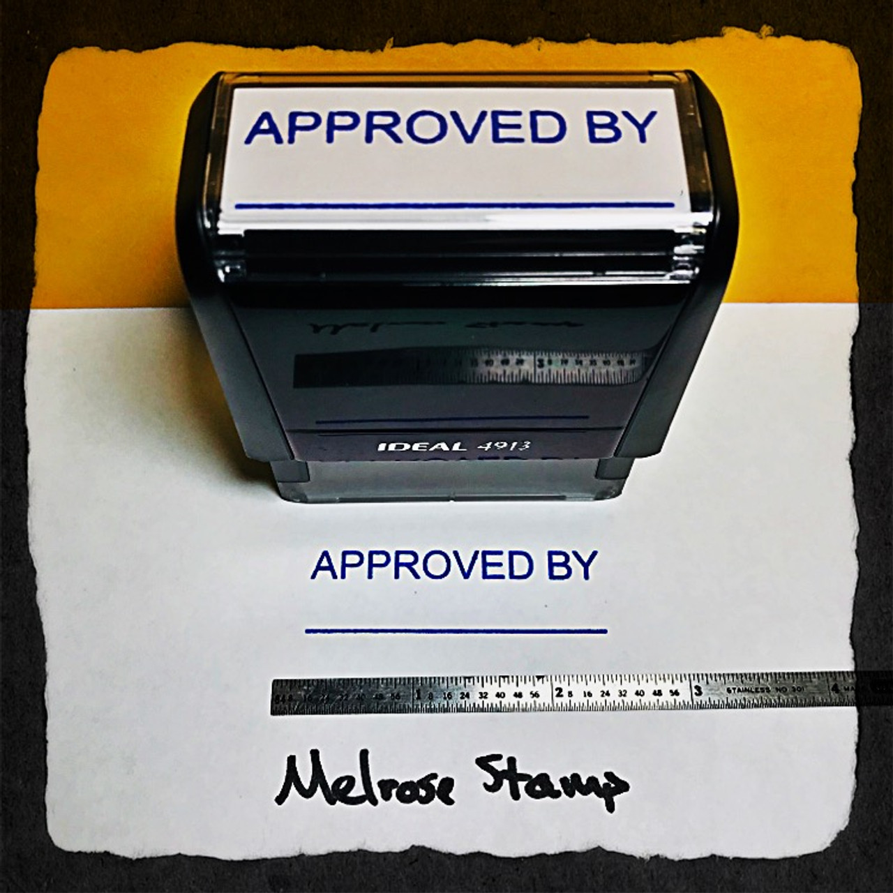 Approved By Stamp Blue Ink Large