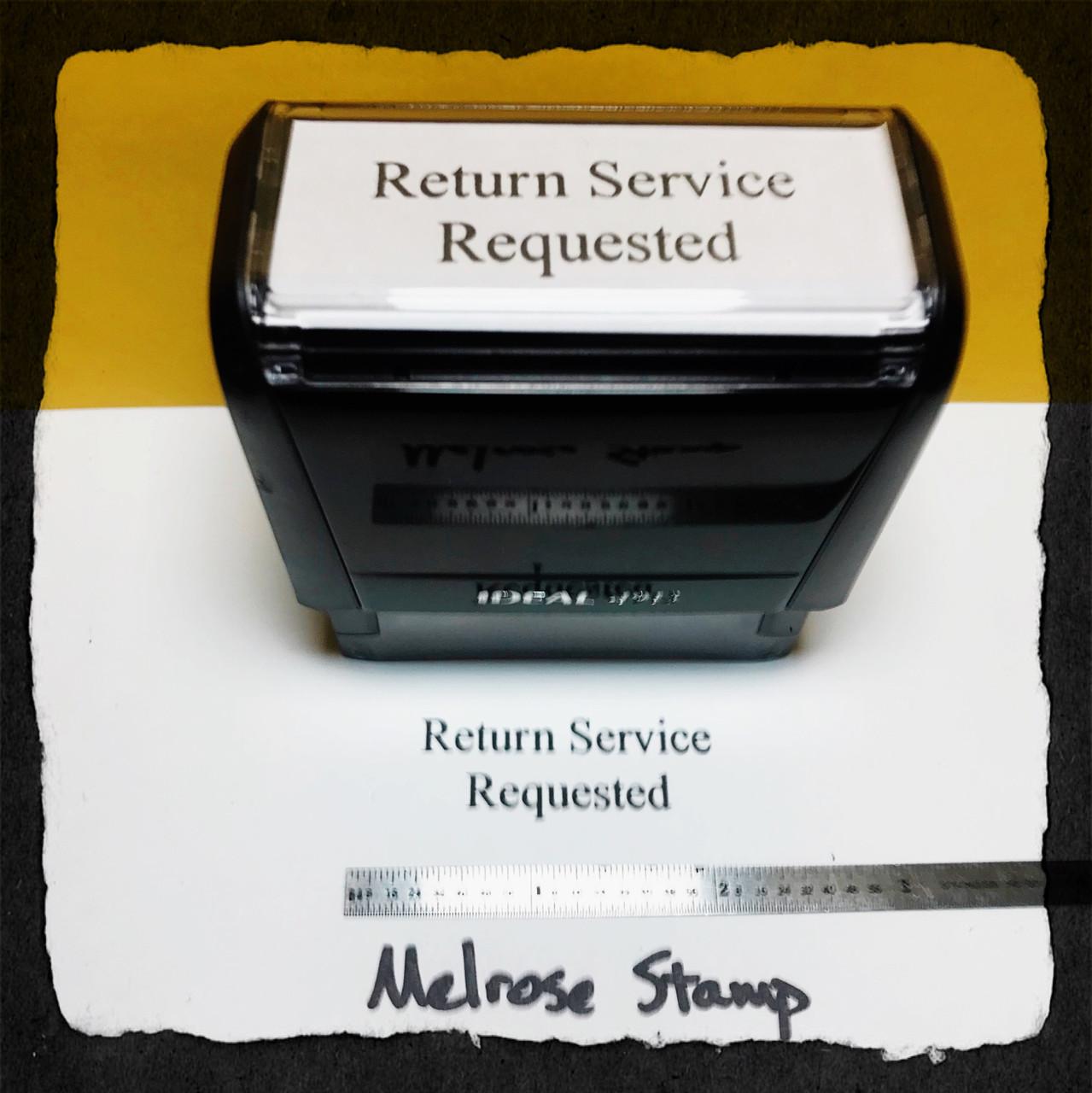 Return Service Requested Stamp Black Ink Large